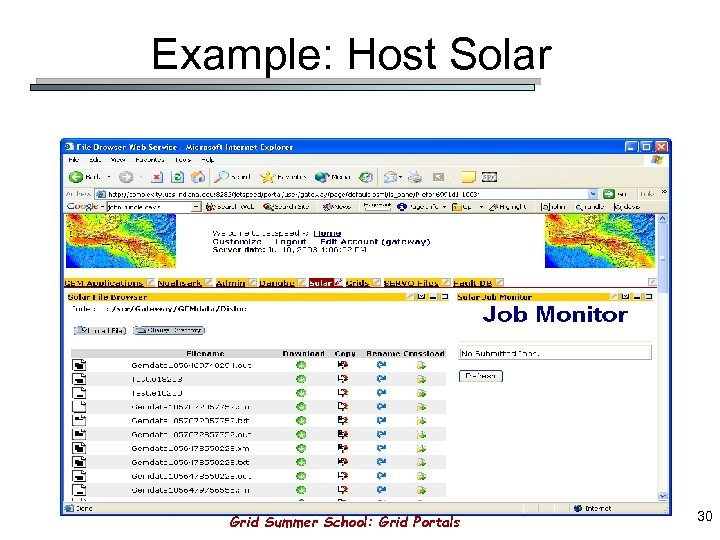 Example: Host Solar Grid Summer School: Grid Portals 30