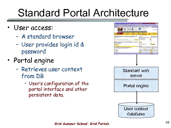 Standard Portal Architecture • User access: – A standard browser – User provides login