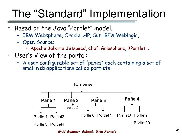 "The ""Standard"" Implementation • Based on the Java ""Portlet"" model. – IBM Websphere, Oracle,"
