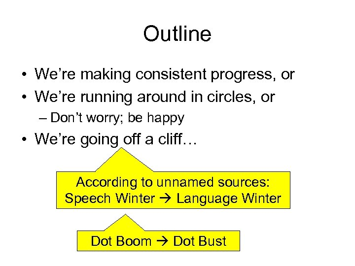 Outline • We're making consistent progress, or • We're running around in circles, or