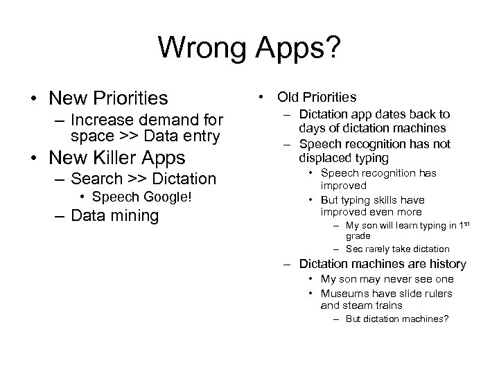 Wrong Apps? • New Priorities – Increase demand for space >> Data entry •