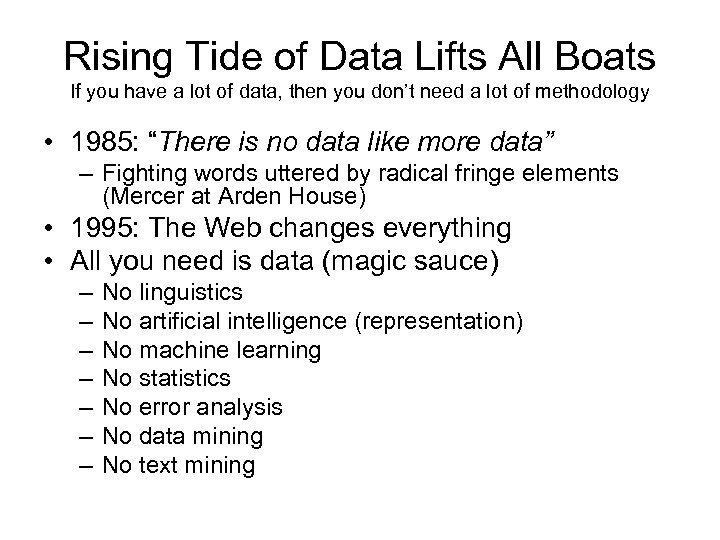 Rising Tide of Data Lifts All Boats If you have a lot of data,