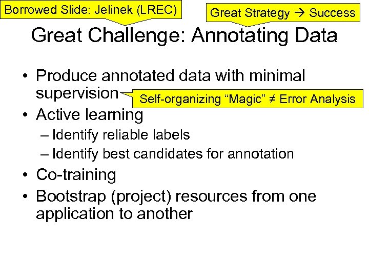 Borrowed Slide: Jelinek (LREC) Great Strategy Success Great Challenge: Annotating Data • Produce annotated