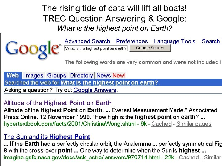 The rising tide of data will lift all boats! TREC Question Answering & Google:
