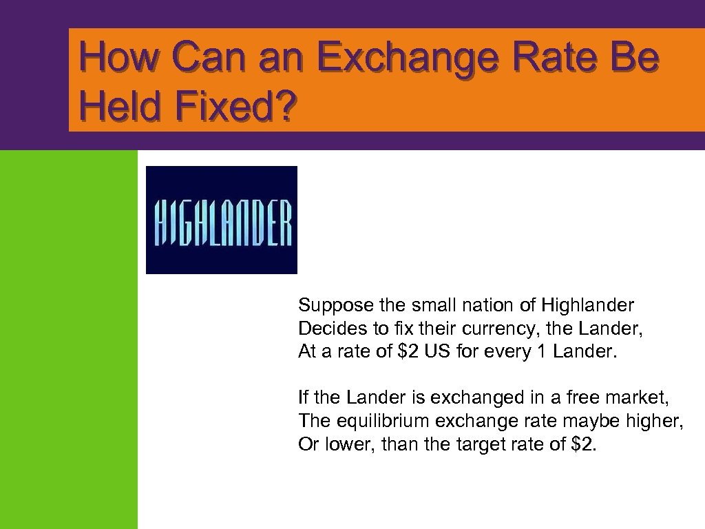 How Can an Exchange Rate Be Held Fixed? Suppose the small nation of Highlander