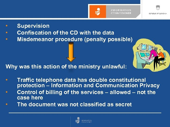 • • • Supervision Confiscation of the CD with the data Misdemeanor procedure