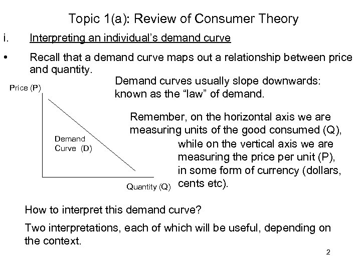 Topic 1(a): Review of Consumer Theory i. • Interpreting an individual's demand curve Recall