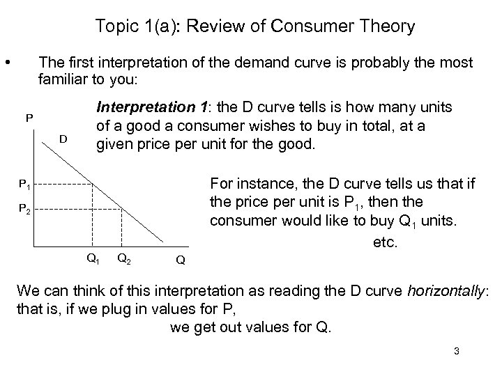 Topic 1(a): Review of Consumer Theory • The first interpretation of the demand curve