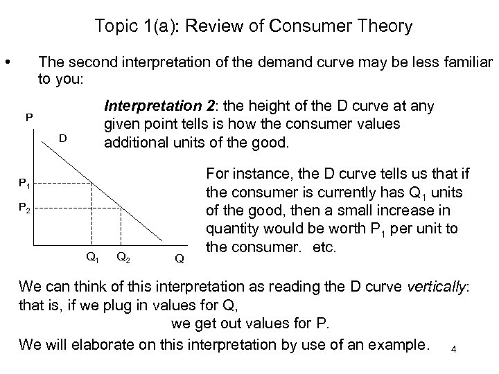 Topic 1(a): Review of Consumer Theory • The second interpretation of the demand curve