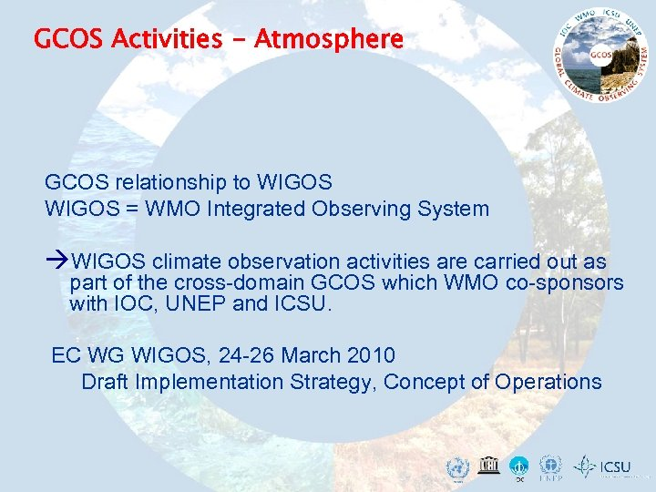 GCOS Activities - Atmosphere GCOS relationship to WIGOS = WMO Integrated Observing System WIGOS