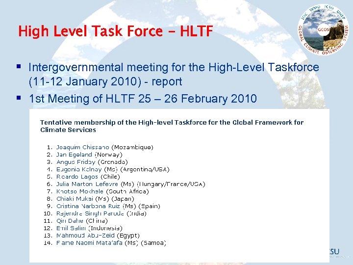 High Level Task Force - HLTF § Intergovernmental meeting for the High-Level Taskforce §
