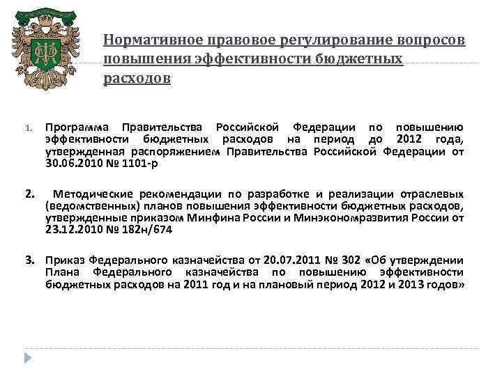Нормативное правовое регулирование вопросов повышения эффективности бюджетных расходов 1. Программа Правительства Российской Федерации по