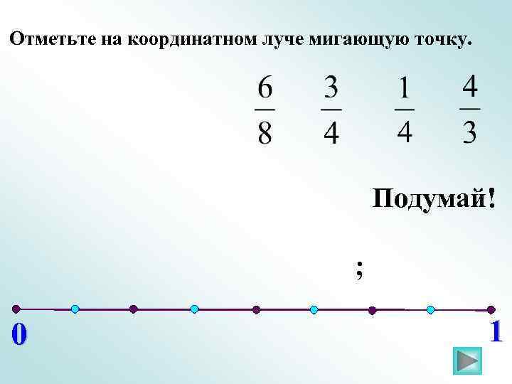 Отметьте на координатном луче мигающую точку. Подумай! ; 0 1