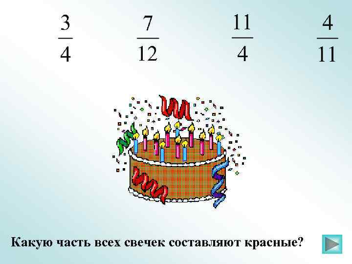 Какую часть всех свечек составляют красные?