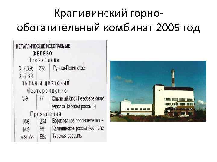Крапивинский горнообогатительный комбинат 2005 год