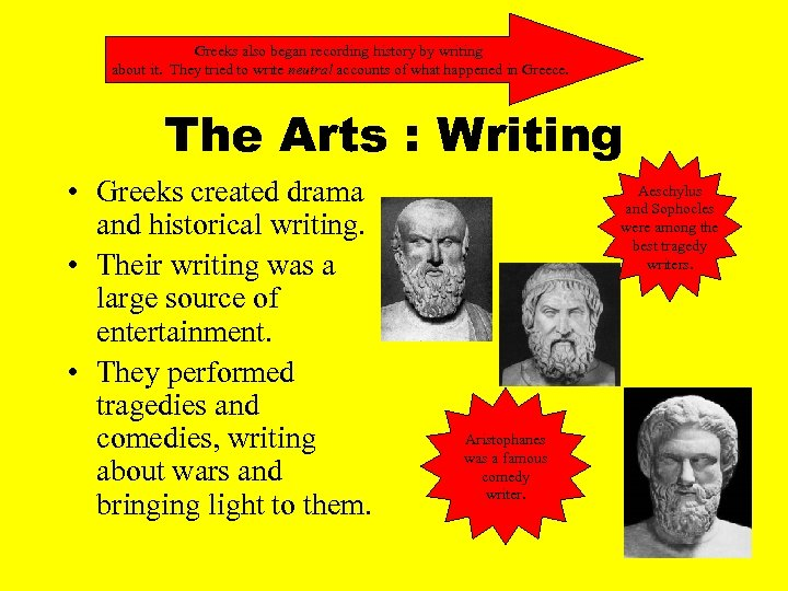 Greeks also began recording history by writing about it. They tried to write neutral