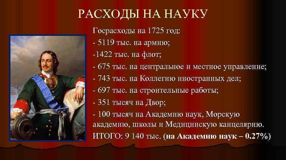 РАСХОДЫ НА НАУКУ Госрасходы на 1725 год: - 5119 тыс. на армию; -1422 тыс.