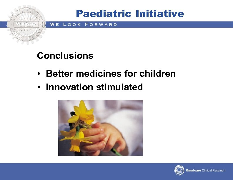 Paediatric Initiative Conclusions • Better medicines for children • Innovation stimulated
