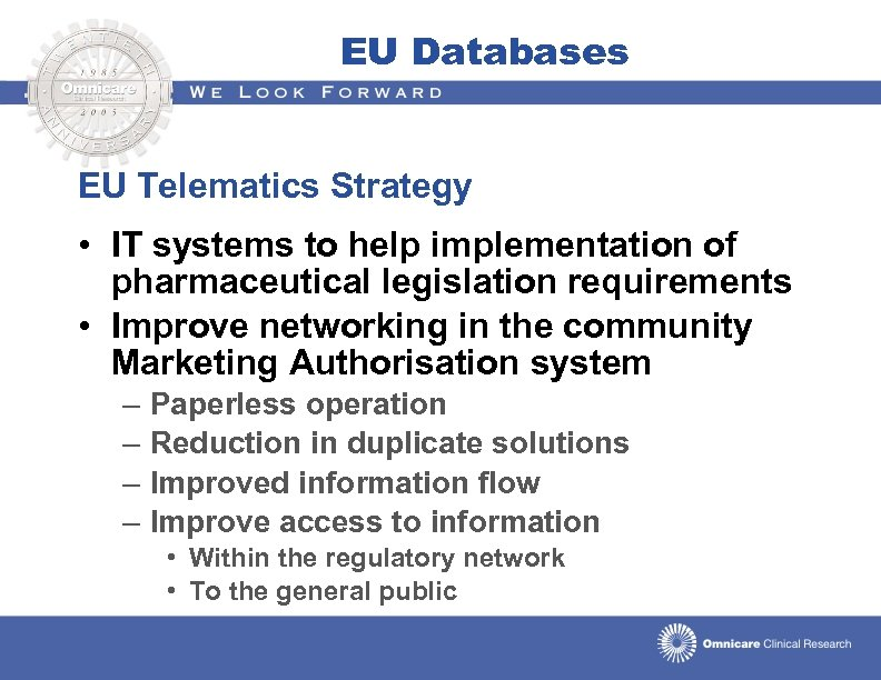 EU Databases EU Telematics Strategy • IT systems to help implementation of pharmaceutical legislation