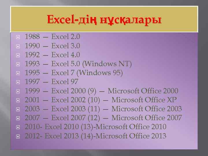 Excel-дің нұсқалары 1988 — Excel 2. 0 1990 — Excel 3. 0 1992 —
