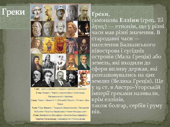 Греки Гре ки, самоназва Елліни (грец. Έλ ληνες) — етнонім, що у різні часи