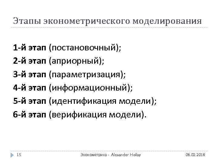 Этапы эконометрического моделирования 1 -й этап (постановочный); 2 -й этап (априорный); 3 -й этап