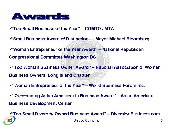 """§""""Top Small Business of the Year"""" – COMTO / MTA §""""Small Business Award of"""