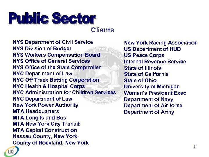 Clients NYS Department of Civil Service NYS Division of Budget NYS Workers Compensation Board