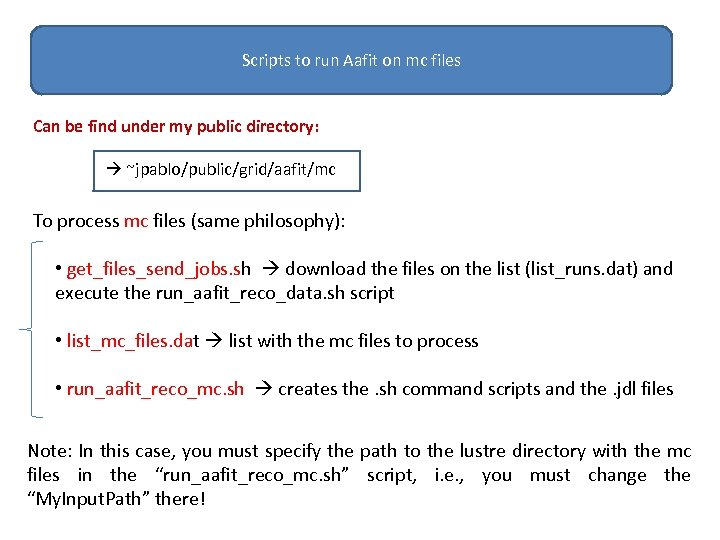 Scripts to run Aafit on mc files Can be find under my public directory: