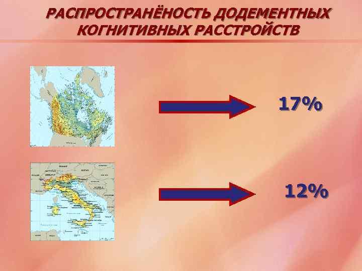 РАСПРОСТРАНЁНОСТЬ ДОДЕМЕНТНЫХ КОГНИТИВНЫХ РАССТРОЙСТВ 17% 12%