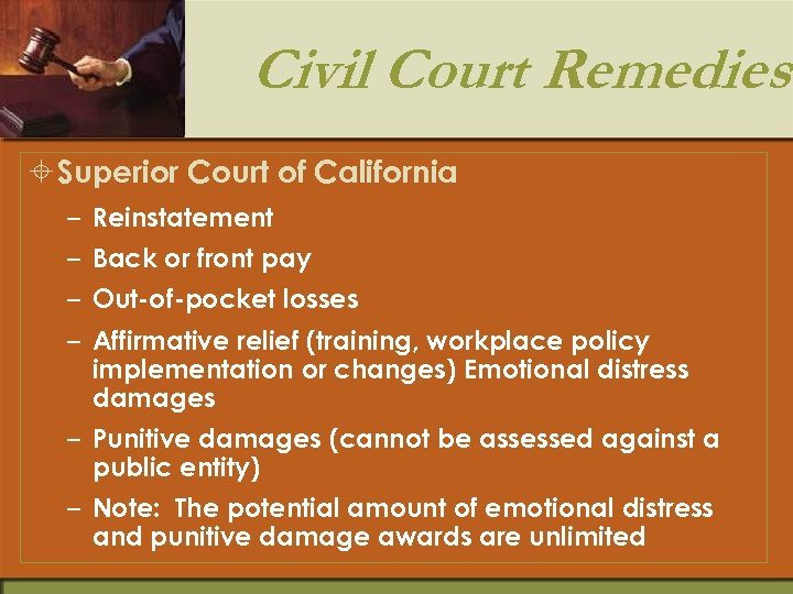 Civil Court Remedies ± Superior Court of California – Reinstatement – Back or front