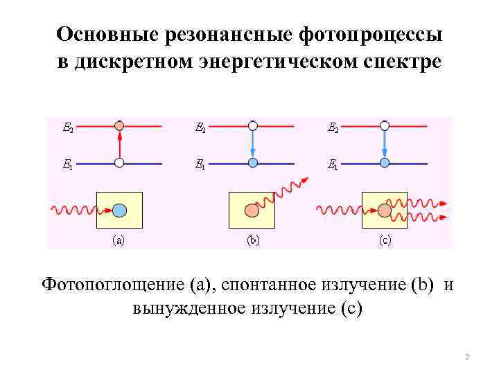 Основные резонансные фотопроцессы в дискретном энергетическом спектре Фотопоглощение (а), спонтанное излучение (b) и вынужденное