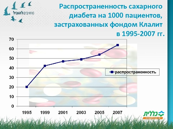 Распространенность сахарного диабета на 1000 пациентов, застрахованных фондом Клалит в 1995 -2007 гг.