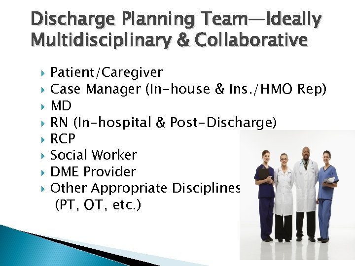 Discharge Planning Team—Ideally Multidisciplinary & Collaborative Patient/Caregiver Case Manager (In-house & Ins. /HMO Rep)