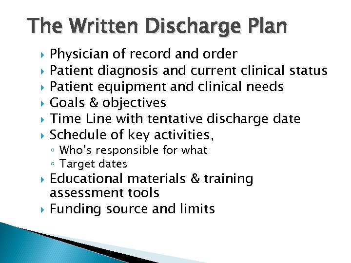 The Written Discharge Plan Physician of record and order Patient diagnosis and current clinical