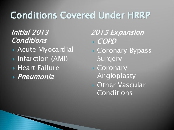 Conditions Covered Under HRRP Initial 2013 Conditions 2015 Expansion COPD Acute Myocardial Infarction (AMI)