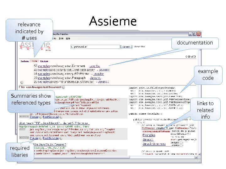 relevance indicated by # uses Assieme documentation example code Summaries show referenced types required