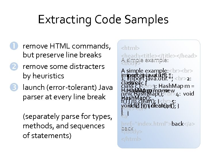 Extracting Code Samples remove HTML commands, but preserve line breaks remove some distracters by
