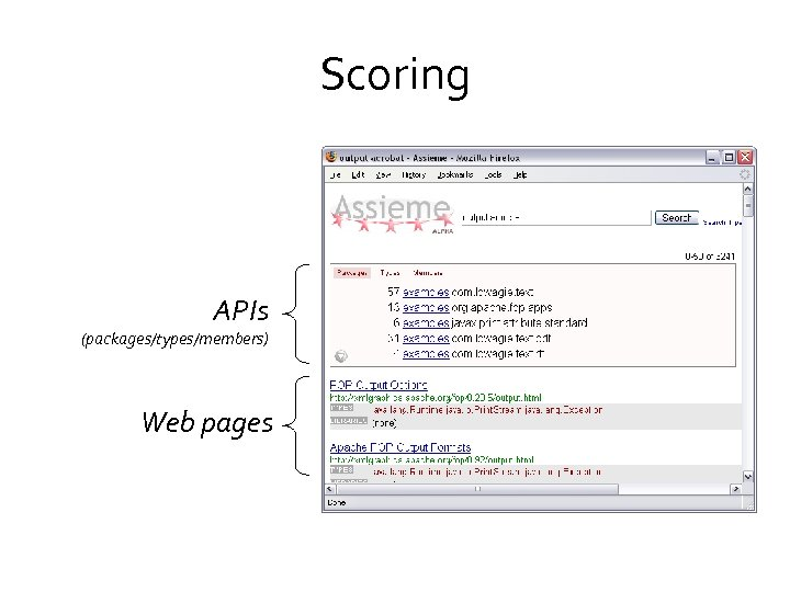 Scoring APIs (packages/types/members) Web pages