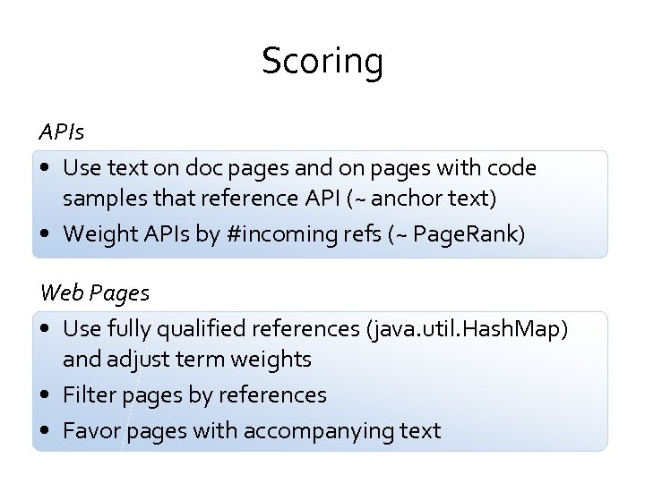 Scoring APIs • Use text on doc pages and on pages with code samples