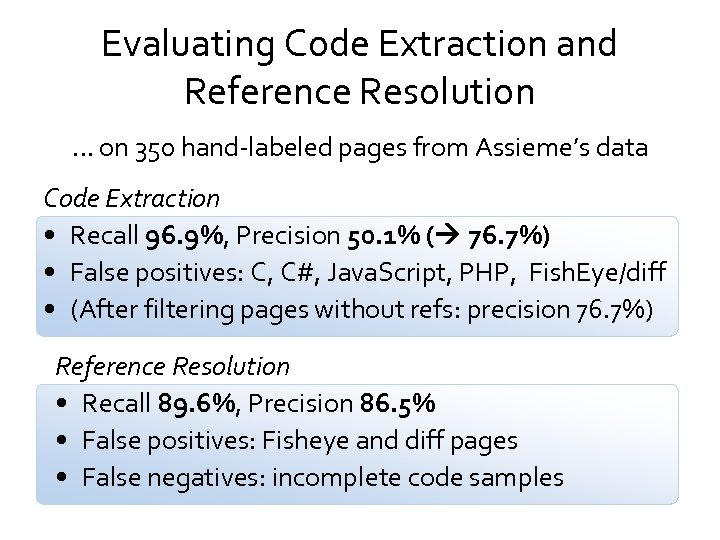 Evaluating Code Extraction and Reference Resolution … on 350 hand-labeled pages from Assieme's data