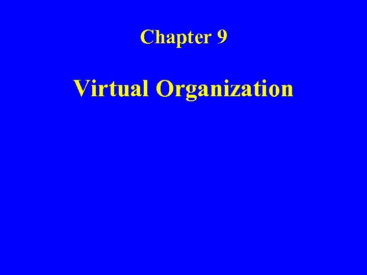 Chapter 9 Virtual Organization