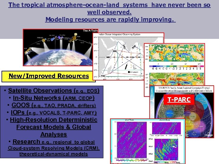 The tropical atmosphere-ocean-land systems have never been so well observed. Modeling resources are rapidly