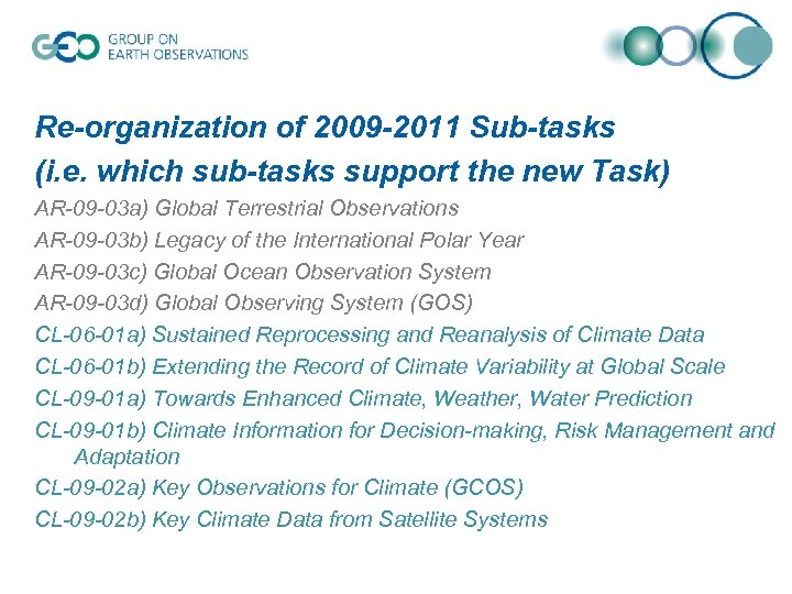 Re-organization of 2009 -2011 Sub-tasks (i. e. which sub-tasks support the new Task) AR-09