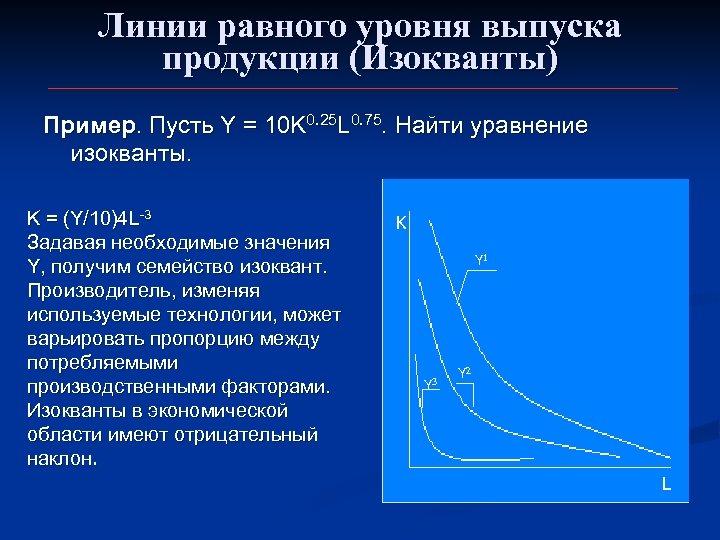 Линии равного уровня выпуска продукции (Изокванты) Пример. Пусть Y = 10 K 0. 25