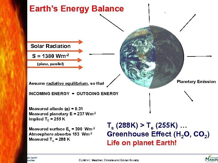 Earth's Energy Balance Solar Radiation S = 1380 Wm-2 (plane, parallel) Planetary Emission Assume