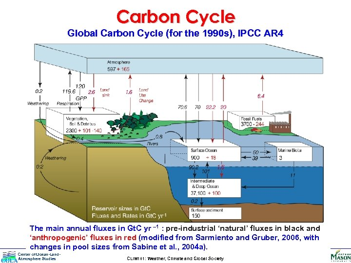 Carbon Cycle Global Carbon Cycle (for the 1990 s), IPCC AR 4 The main