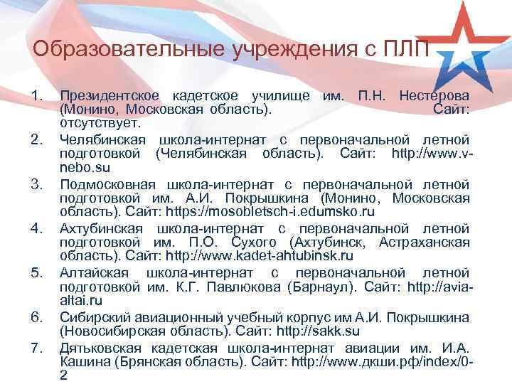 Образовательные учреждения с ПЛП 1. 2. 3. 4. 5. 6. 7. Президентское кадетское училище