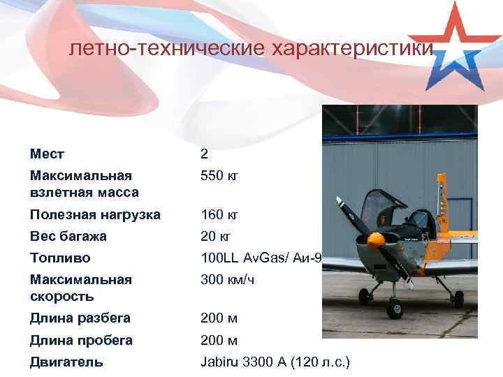 летно-технические характеристики Мест 2 Максимальная взлетная масса 550 кг Полезная нагрузка 160 кг Вес
