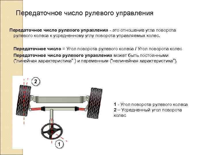 Передаточное число рулевого управления - это отношение угла поворота рулевого колеса к усредненному углу